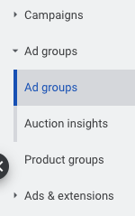Ad groups inside Campaigns