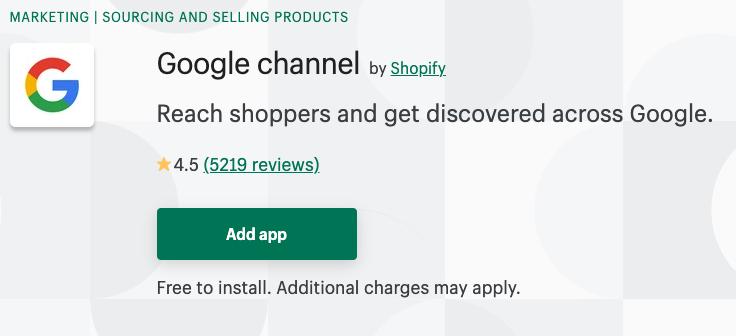 Google channel Shopify app
