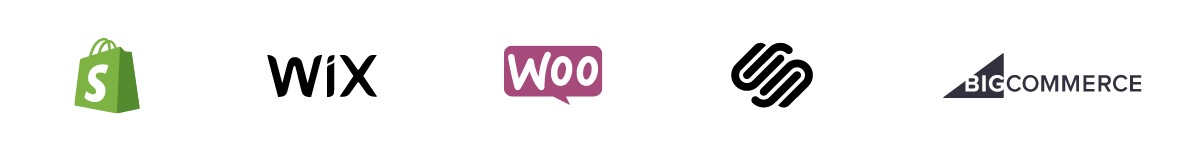 Shopify, Wix, Woocommerce, Squarespace, and Big Commerce logos